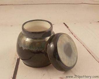 Ceramic Jar - Lidded Treasure Keeper - Stoneware Vase - Cache Pot - Bureau Desk Vanity Jar - Ready to Ship - Gloss Black Sea Green  v643