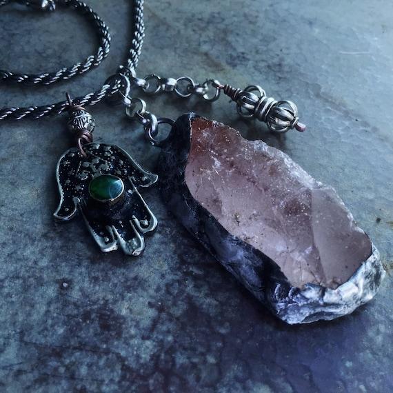 Raw quartz and Hamsa necklace | amulet necklace, rustic necklace