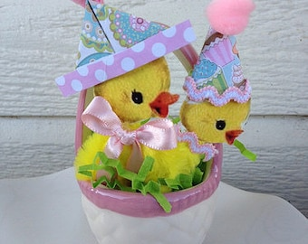 Easter Decoration Chenille Duck and Chick in an Easter Basket Easter Ornament