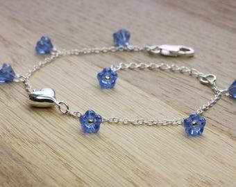 Forget Me Not Bracelet, Forget-me-not Love Bracelet, Sterling Silver, Adjustable length