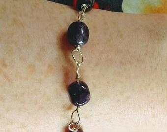 Amethyst Gemstone and Sterling Silver Bracelet Made In Scotland