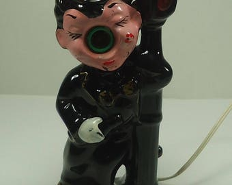 Mid Centruy Cermamic Red Nose Drunk On A Lamp Post Bar Tavern Lamp Retro, Kitsch, A Must For Your Bar