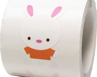 """Multi Colored Bunny Stickers - Design By Doodlebug for Scrapbook or Envelope Seals - 1 3/16"""" Die Cut Shape Adhesive Easter Stickers"""