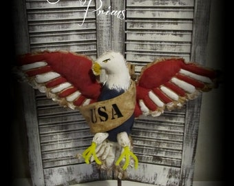 Primitive Americana Eagle Stand~Handmade Patriotic Folk Art Eagle