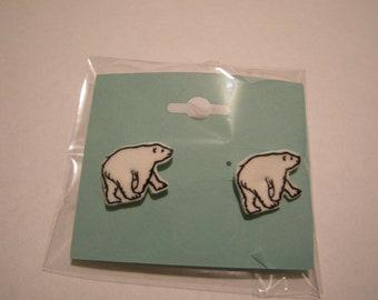 """Polar Bear Pierced Earrings, handmade jewelry, 1"""""""