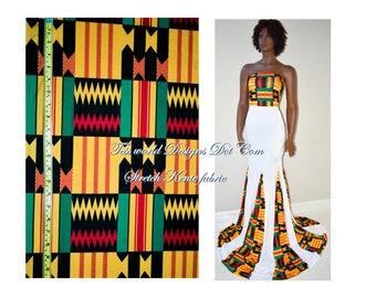 Prom Stretch kente African Fabric/ Wedding Stretch Fabric/ Stretch African Print Fabric/ 4 way stretch spandex fabric  sold per yard ST04