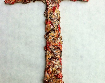 handmade original wood and plaster cross, large painted wall sculpture, wall art, wall collage, explosive orange, coral, fire