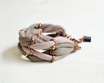 Woven Bracelet, Jersey Bracelet, Fabric Bracelet, Light Brown Bracelet, Casual Jewelry, Sand