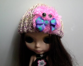 Yellow and Purple Knit Hat Beanie for Blythe Doll with Hot Pink Furry Monster