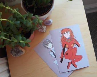 Asuka Langley / Rei Ayanami Evangelion Fan Art A5 Prints