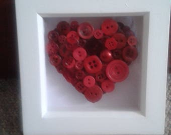 Hand crafted framed red button art heart