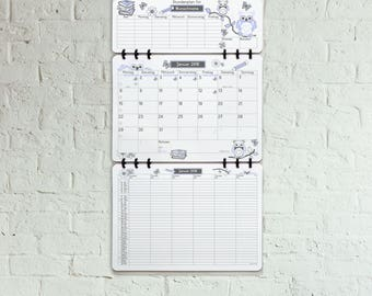 Back to School Wall Calendar • Design: blue Owls • German Version