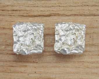 Earrings Silver 925 /-, crumpled, large square