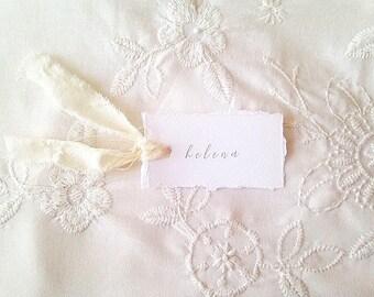 Cartes de place de bord frangés, cartes de lieu de mariage, papeterie de mariage rustique, mariage personnalisé nom de cartes, cartes de mariage blanc