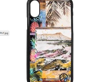 NEW iPhone X Case, Outrigger HI, Modern, Surf, Sunset, Hawaii, Aloha, Pineapples, Diamond Head, iPhoneX, Beach, Art, black case color