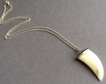 Elephant Tusk Necklace, Tusk Necklace, Silver Tusk Necklace, Boho Necklace,Birthday Gift, British Seller UK, Mother's Day Gift