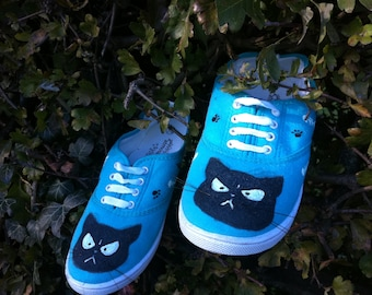 angry cat shoes blue grumpy cat shoes cute shoes handmade trainers