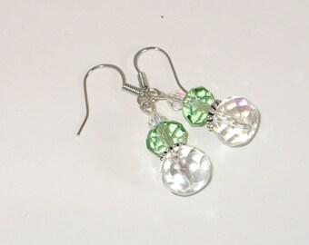 Mint green and iridescent Czech crystal earrings.
