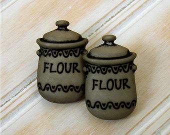 Miniature Vintage Flour Canister Earrings