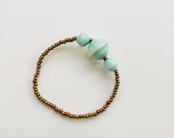 Mint Three Bead Bracelet - made in Uganda