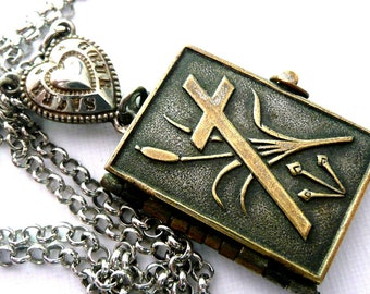 Stations of the Cross Book Locket Necklace