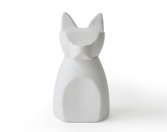 Small Anubis Dog Urn- Matte White