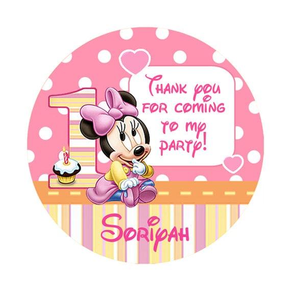 Pink baby minnie mouse birthday round sticker lollipop label