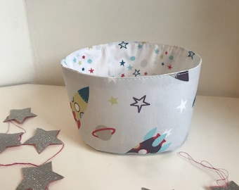 Fabric storage basket / storage pouch / basket theme rockets and space