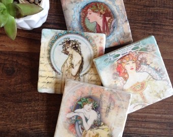 She stone coasters - Mucha art
