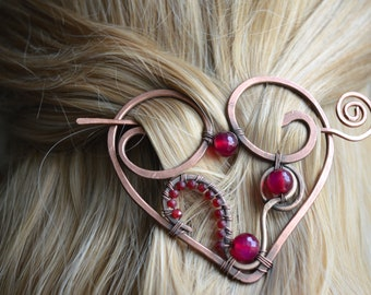 Hair slide with red Agathe stone, Heart brooch, Heart pin, Copper heart hair slide, Hair barrette, FREE SHIPPING
