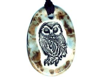 Owl Ceramic Necklace in Speckled Blue Brown
