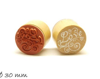 1 piece stamp 'Love' rubber stamp Ø 30 mm round