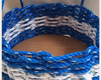 Medium Hand Woven Rope Basket Blue/ White