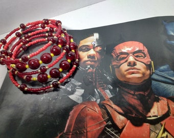 Red and Gold Cuff Bracelet ( Flash Inspired)