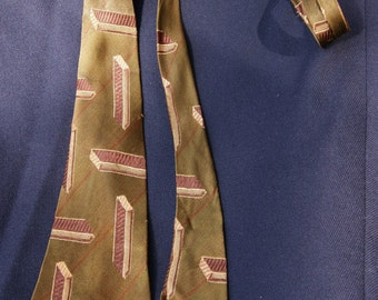 Vintage 1950's Swing Era Atomic Rockabilly Art Deco Tie Necktie