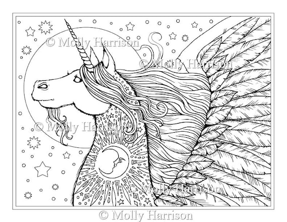 Unicornio Pegaso sello Digital imprimir lunas estrellas