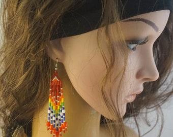 Rainbow boho earrings Beaded rainbow earrings Colorful fun earrings with fringe Long red earrings Quirky earrings Fashion girls earrings
