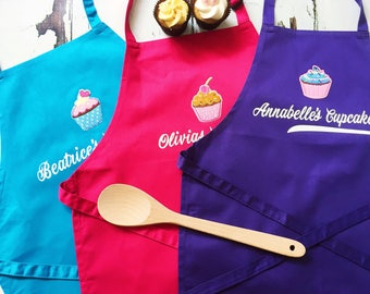 Childrens Personalised Cupcake Apron, Turquoise, Pink, Purple, Cupcake,Birthday Gift, Baking,Little Chef,  Gift for Her, Girl
