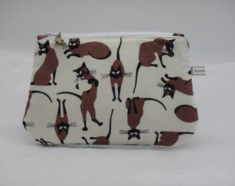Siamese Cat Pouch, Kitty Bag, Zip Pouch, Ditty Bag, Toiletry Kit, Cosmetics Case, Toy Bag, Shave Kit, Travel Case,