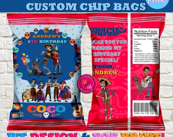 Coco Movie  Chip Favor bag, Personalized Coco favor bag, Printable favor, Custom Coco Chip Bag, Coco  Birthday Party Favors, Coco decoration