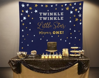 Twinkle Twinkle Little Star Backdrop, First Birthday Photo Backdrop, Navy Silver Gold Banner Poster, Twinkle Birthday Party Decorations