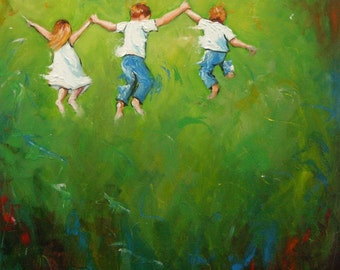 Print of original oil painting Leap50  by Roz
