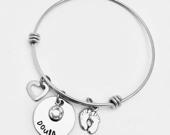 Personalized Bracelet, Expandable Bracelet, Doula Bracelet, Midwife Bracelet, Birthstones, Doula Midwife Gift, Personalized Bangle