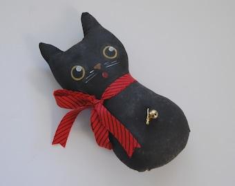 Cat Doll, Folk Art Doll, Primitive Black Cat, Bowl Filler, Shelf Sitter