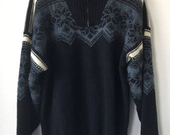 Norwegian sweater Dale of Norway thick heavy wool pullover snowflake pattern TRADISJON sweater apres ski blue shades  mens Large half zipper
