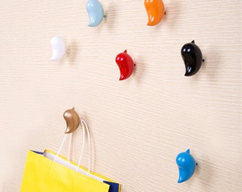 Bird Hooks Colorful Decorative Hooks /Resin Coat Hat Hangers Wall Hooks Door Hooks /Arts Creative Wall Towel Hanger Home Decoration Hooks