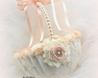 Wedding Flower Girl Basket Ivory Peach Blush Lace Pearls Basket Vintage Unique Style