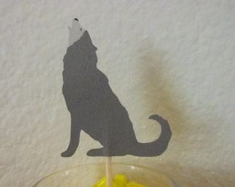 12  Wolf cupcake toppers, wolf food picks,  cupcake toppers, wildlife toppers