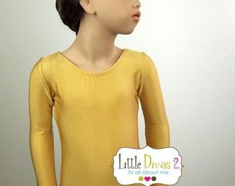 Gold Leotard-Shiny (Child) Long Sleeve Leotard
