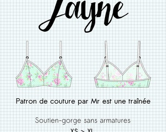 "Sewing pattern lingerie PDF, ""Jayne"", BRA, brassiere, XS to XL, in french"